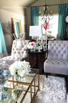 Tufted chairs from HomeGoods make any living room look elegant (sponsored pin)