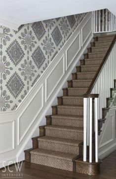 Staircase makeover, staircase wall decorating ideas, decorating ideas for stairs and hallways, stairwell House Stairs, Carpet Stairs, Stairs With Carpet Runner, Staircase Runner, Staircase Walls, Stair Runners, Marble Staircase, Floating Staircase, Dining Room Wainscoting