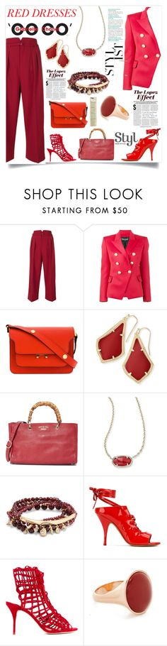"""Glamarous Red"" by justinallison ❤ liked on Polyvore featuring RED Valentino, Balmain, Marni, Kendra Scott, Givenchy, Sophia Webster, Vita Fede, Chanel and Jennifer Lopez"