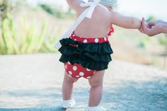 Disney Inspired Minnie Mouse Baby Girl Romper by ALittleArrow