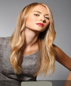 Stylish medium long hairs golden brown color with best look