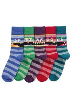 Buy Five Pack Faces Socks from the Next UK online shop Latest Fashion For Women, Mens Fashion, Sport Socks, Next Uk, Uk Online, Slippers, Pattern, Stuff To Buy, Moda Masculina