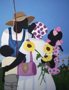 We have a special place in in our heart for beautiful southern art. One of our favorite types of southern art is Gullah Art. Based in the Lowcountry of Georgia and South Carolina, these southern ar… Afrique Art, Black Art Pictures, Caribbean Art, African American Artist, Illustration Art, Illustrations, Southern Belle, Art Africain, Black Artwork