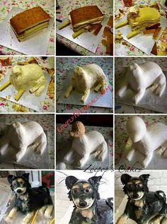 "МК торт ""3Д собака"" -Sculpted Dog cake tutorial - Мастер-классы по украшению тортов Cake Decorating Tutorials (How To's) Tortas Paso a Paso"
