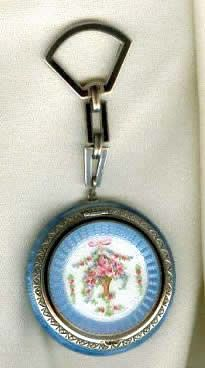 Vintage Silver Compact with Blue& White Guilloche Enamel Floral Basket Design in the Center and Chain for clipping onto a Chatelaine