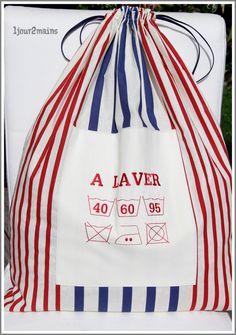 sac linge rayures XL