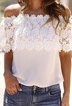 White Off the Shoulder Floral Crochet Lace Blouse