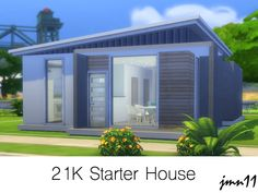 A modern starter house with a value of 21000 simoleons. The house has 2 bedrooms and an open plan area with living room, dining area and kitchen. Hope you like it and thank you for downloading :)...