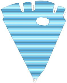 Martha Stewart's cone shaped favor box with blue and white stripes: ready to download and print!