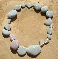 Pebbles with a natural stripe of quartz ringing them. It took quite a while to find enough pebbles on the beach in Devon. Pebble Stone, Pebble Art, Stone Art, Beach Rocks, Beach Stones, Rocks And Gems, Rocks And Minerals, Land Art, Line Stone
