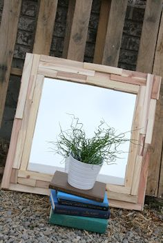 DIY scrap wood frame -for the whiteboard I just inherited... I would like to paint the pieces in ombre tones of one color though, maybe greens or salmon-ish shades.