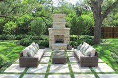 Fresh Garden Outdoor Living Spaces Wicker Sofa Outdoor Fireplace.  #outdoordesign