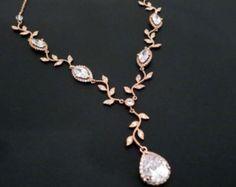 Collar nupcial, collar de oro rosa, rosa oro joyería nupcial, collar de la boda de cristal, collar de cristal, collar de Dama de honor, oro rosa