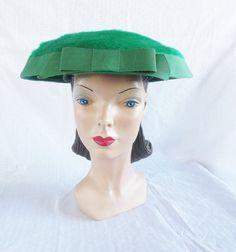 1950's Vintage Green New Look Wide Brim Hat by MyVintageHatShop, $66.00