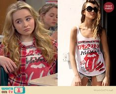 Maya's Japanese Rolling Stones top on Girl Meets World.  Outfit Details: http://wornontv.net/36925/ #GirlMeetsWorld