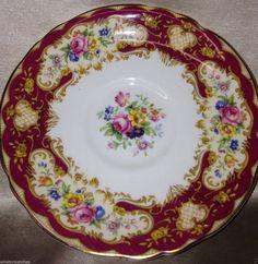 Paragon Pompadour RED Footed CUP Saucer 8 OZ Multicolor Floral Gold Trim | eBay
