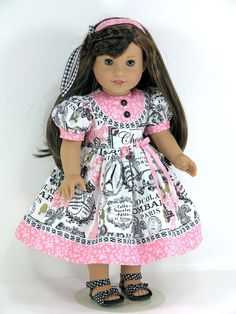 American Girl Clothes - Paris Doll Dress for Grace with Headband, Pantaloons - Exclusively Linda Doll Clothes
