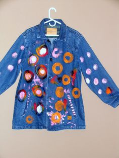 One of a Kind Hand Painted Denim Jacket by JacketsbyJahne on Etsy