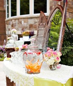 Outdoor-Vintage-Lace-Tea-Party-Bridal-Shower-Drinking-Table