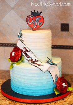 tattoo wedding cake ombre blue teal by Frost Me Sweet