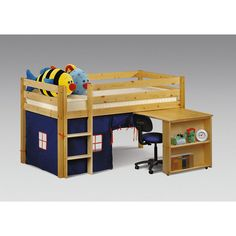 loft bed with play area & desk
