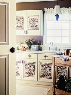 Update your kitchen cabinet door with stenciling
