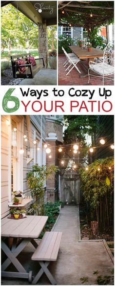 6 Ways to Cozy Up Your Patio.... I think I need to consider zig-zaggy overhead lighting