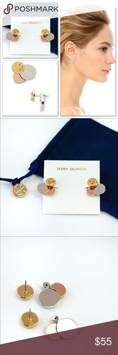 "Tory Burch Tri Circle Cluster Ear Jackets 🔹Brand new 🔹Dust pouch included  Made with a circular motif of overlapping discs, these versatile ear jackets are punctuated with a signature logo and designed to frame the earlobe in metallic shine. * 3/4"" x 3/4"". * Post back. * 16k-yellow gold, 16k-rose gold, or titanium plate. Tory Burch Jewelry Earrings"