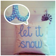 A personal favourite from my Etsy shop https://www.etsy.com/uk/listing/452604978/let-it-snow-cushion-snow-pillow