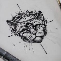 Teti Malik @teti_malik Instagram photos | Websta #tattoo #ink #black #line #men #women #arm #cat