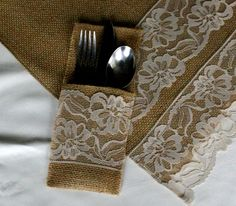 Burlap silverware holder