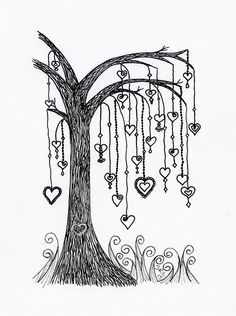 Willow tree with heart dangles. I designed this for my younger sister Line. Zentangle by Sandy Rosenvinge Lundbye