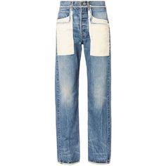 Helmut Lang Women's Patch Pocket Boyfriend Jeans (19.650 RUB) ❤ liked on Polyvore featuring jeans, pants, bottoms, denim, blue jeans, button fly jeans, helmut lang, boyfriend jeans and patch pocket jeans