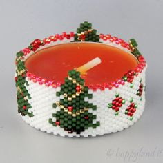 "Le gioie di Happyland - patterns: Tealight cover ""alberelli"""
