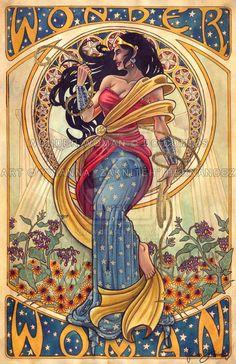 Mucha Wonder Woman by ~zakniteh on deviantART - would be an awesome cross stitch...