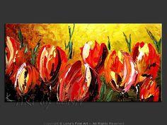 """Giant Tulips"" - Original Flower Paintings by Lena Karpinsky, http://www.artbylena.com/original-painting/20490/giant-tulips.html"