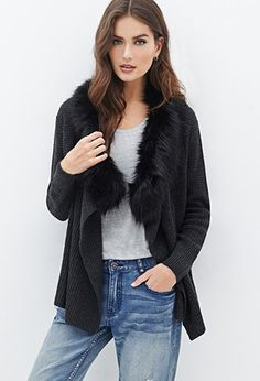 Contemporary Faux Fur-Trimmed Cardigan | LOVE21 - 2055880126