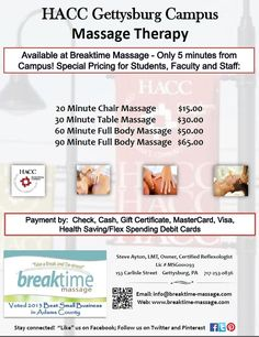 Informational flyer re HACC - Gettysburg Campus for Breaktime Massage