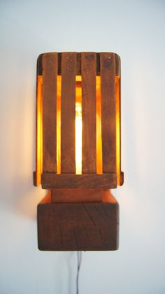 Wooden lamp, Stairs lamp, Warm light, Wall hanging lamp, Rustic lamp Rustic Lamps, Wooden Lamp, Recycled Wood, Cool Gifts, Wall Mount, Rustic Stairs, Wall Lights, Minimalist, Indoor