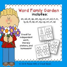 Need to teach or review word families? Students can use this word family packet to make their own word family garden booklet. 21 word families included. $