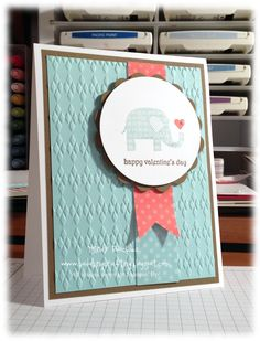 I LOVE this elephant on ANY card but really love him as a non traditional valentine by Bada-Bing! Paper-Crafting