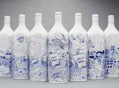 "Johnny Walker China Bottle by Chris Martin  by Harry / June 24, 2011  Via @Team PSFK & @Creative Review, willow patterned porcelain whisky bottles for Johnny Walker, ""a traditional decorative Chinese-style white and blue technique to tell the story of Johnnie Walker whisky's epic journey from Scotland to China over a hundred years ago."" More at Chris Martin."