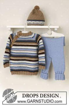 DROPS bluse, bukser og hue i Alpaca, tøjdyr. Gratis strikkeopskrifter fra DROPS Design.