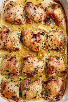 Baked chicken thighs with maple syrup, apple cider vinegar, garlic, fresh parsley and sesame oil. Chicken Thights Recipes, Oven Chicken Recipes, Cooking Recipes, Healthy Recipes, Recipes With Chicken Thighs, Freezer Cooking, Cooking Tips, Baked Boneless Chicken Thighs, Roasted Chicken Thighs
