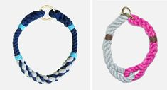 Gorgeous handmade rope collars, leashes, and harnesses in modern colorways by Lasso.