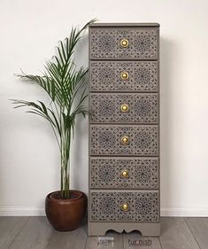 SOLD *** Tall Chest of Drawers / Dresser / Tallboy, Hand Painted and Stencilled, Perfect Storage for Bedroom, Living Room or Hallway Tall Drawers, Large Chest Of Drawers, Modern Drawers, Painted Drawers, Dresser Drawers, Dressers, Leaf Stencil, Stencils, Wallpaper Dresser