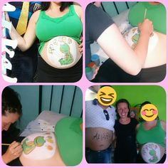 Belly painting, man and women