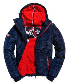 452ffe015 Mens - Sports Puffer Jacket in Navy/red | Superdry Jaquetas, Superdry  Homens,