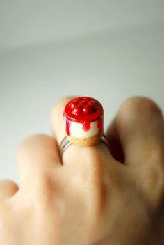 Polymer clay cherry cake ring