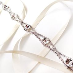 Rhinestone Ribbon Bridal Headband White or Ivory by GetNoticed